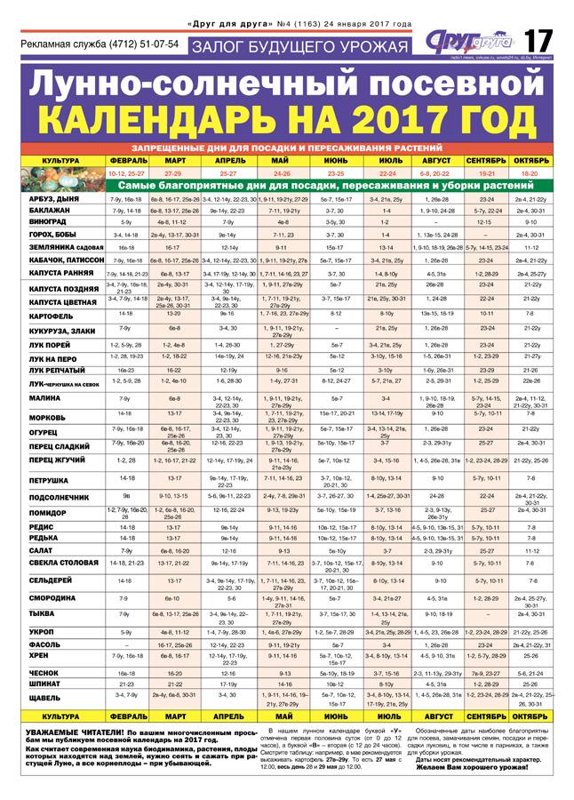 Посевной лунный календарь 2017-2018 таблица