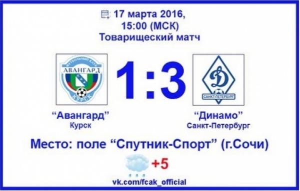 Курские футболисты проиграли питерскому «Динамо»