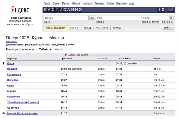 поезда москва орел курский вокзал расписание