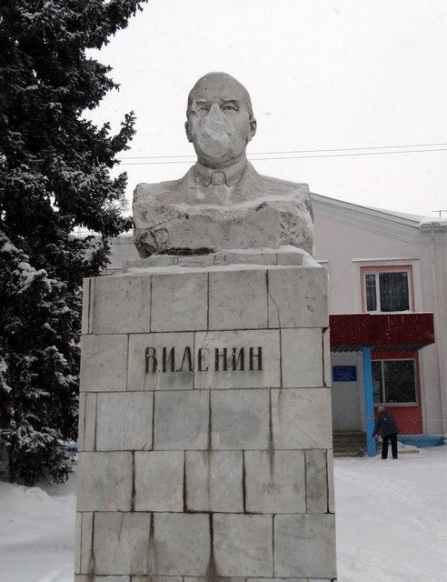 На Станционной памятник Ленину лишился лица