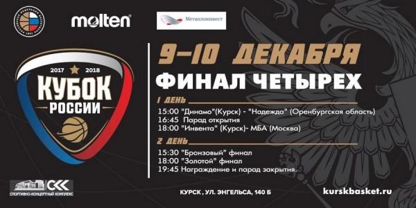 Курск примет «Финал четырех» Кубка Российской Федерации побаскетболу