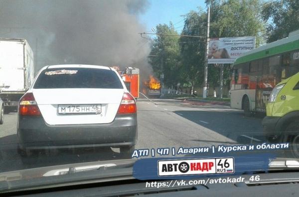 В Курске загорелась маршрутка