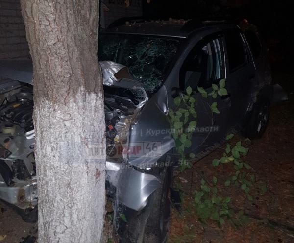 В Курске «Рено Дастер» сбил на тротуаре пешехода и врезался в дерево
