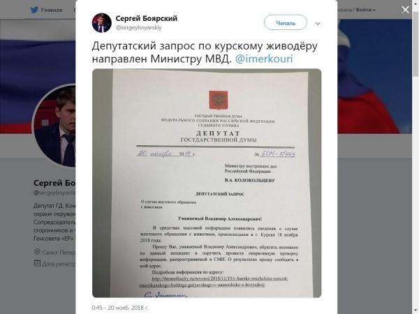 Депутат Госдумы заинтересовался убийством бульдога в Курске